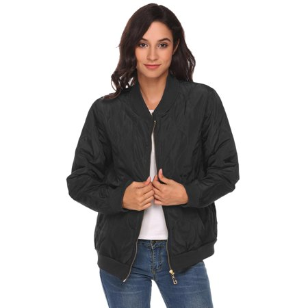 Women Lightweight Long Sleeve Zip Up Casual Quilted Bomber Jacket w/ Pocket HFON