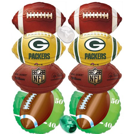 Green Bay Packers Playoffs Party Decorations Football Mylar Foil Balloons 10pc (Green Bay Packers Party Decorations)