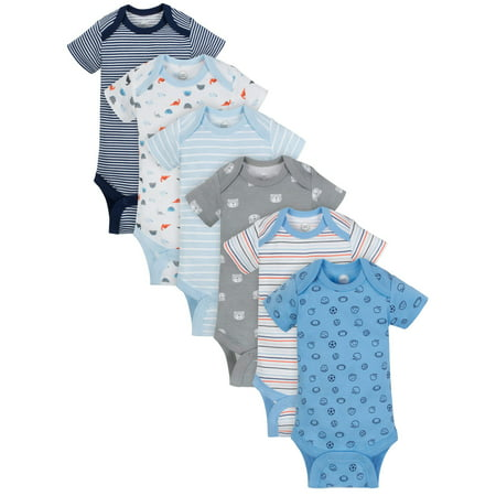 Wonder Nation Short Sleeve Bodysuits, 6-pack (Baby Boy)