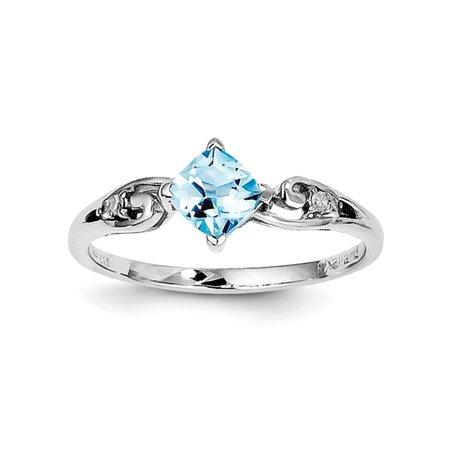 Diamond2deal 925 Sterling Silver Diamond And Sky Blue Topaz