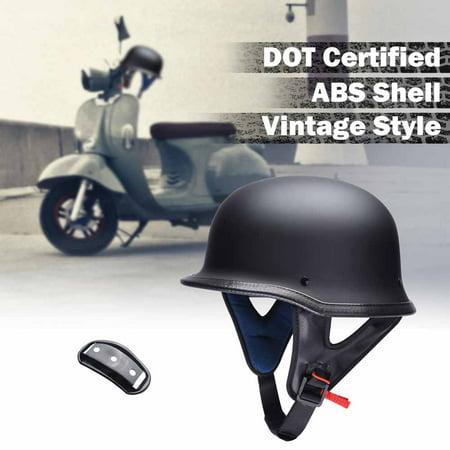 Yescom DOT German Style Motorcycle Half Helmet Open Face Cruiser Chopper Biker Scooter Vintage Matte Black