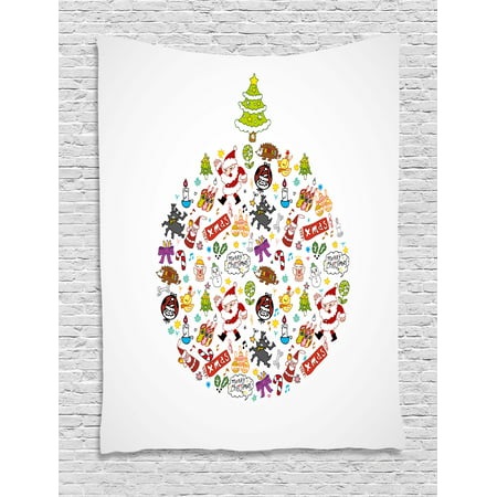 Kids Christmas Tapestry, Merry Xmas Wish and Circle of Happy Cute New Year Icons Under Pine Tree, Wall Hanging for Bedroom Living Room Dorm Decor, 40W X 60L Inches, Multicolor, by Ambesonne ()
