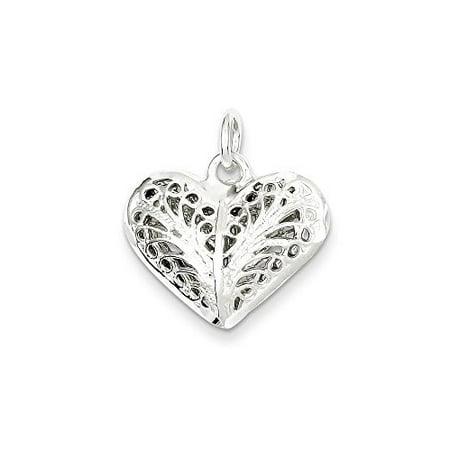 .925 Sterling Silver Filigree Heart Charm Pendant Sterling Silver Filigree Heart Charm