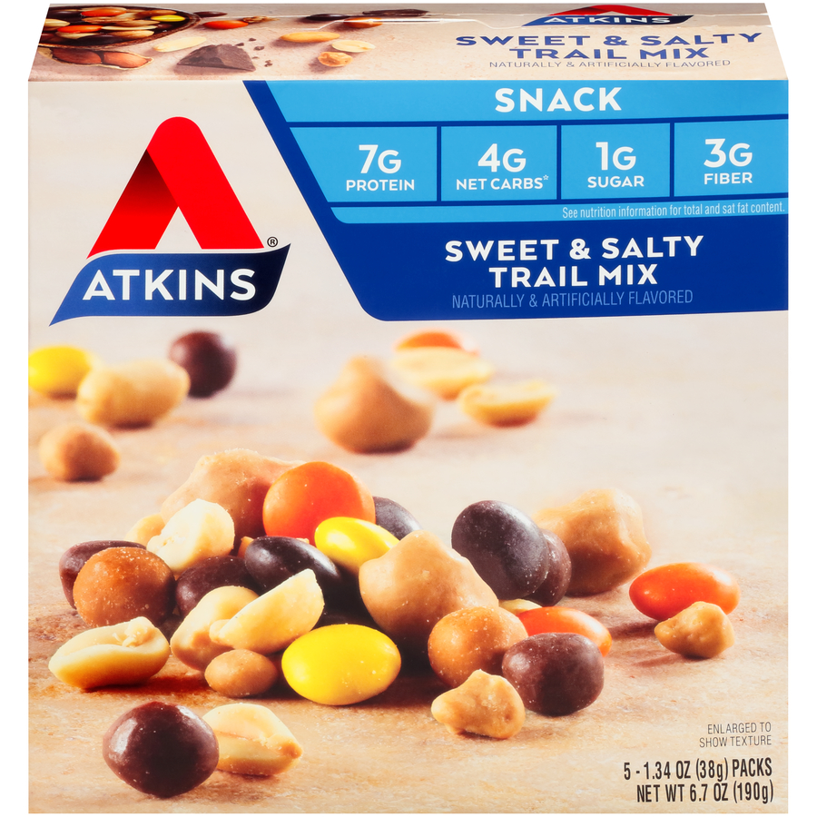 Atkins Snack Sweet & Salty Trail Mix, 1.34 oz, 5-pack (Snack)
