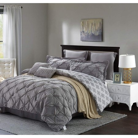 Unique Home 8 Piece Reversible Pinch Pleat Comforter Set Bed In a Bag Clearance Bedding Comforter Duvet, Fade Resistance, Super Soft (CalKing, Grey) ()