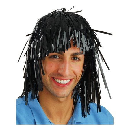 Funny Costumes For Black Guys (Black Tinsel Foil Wedding Party Funny Gag Wig Costume)