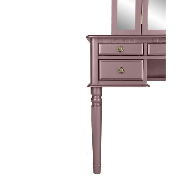 Magnificent Bobkona St Croix Collection Vanity Set With Stool Rose Gold Spiritservingveterans Wood Chair Design Ideas Spiritservingveteransorg