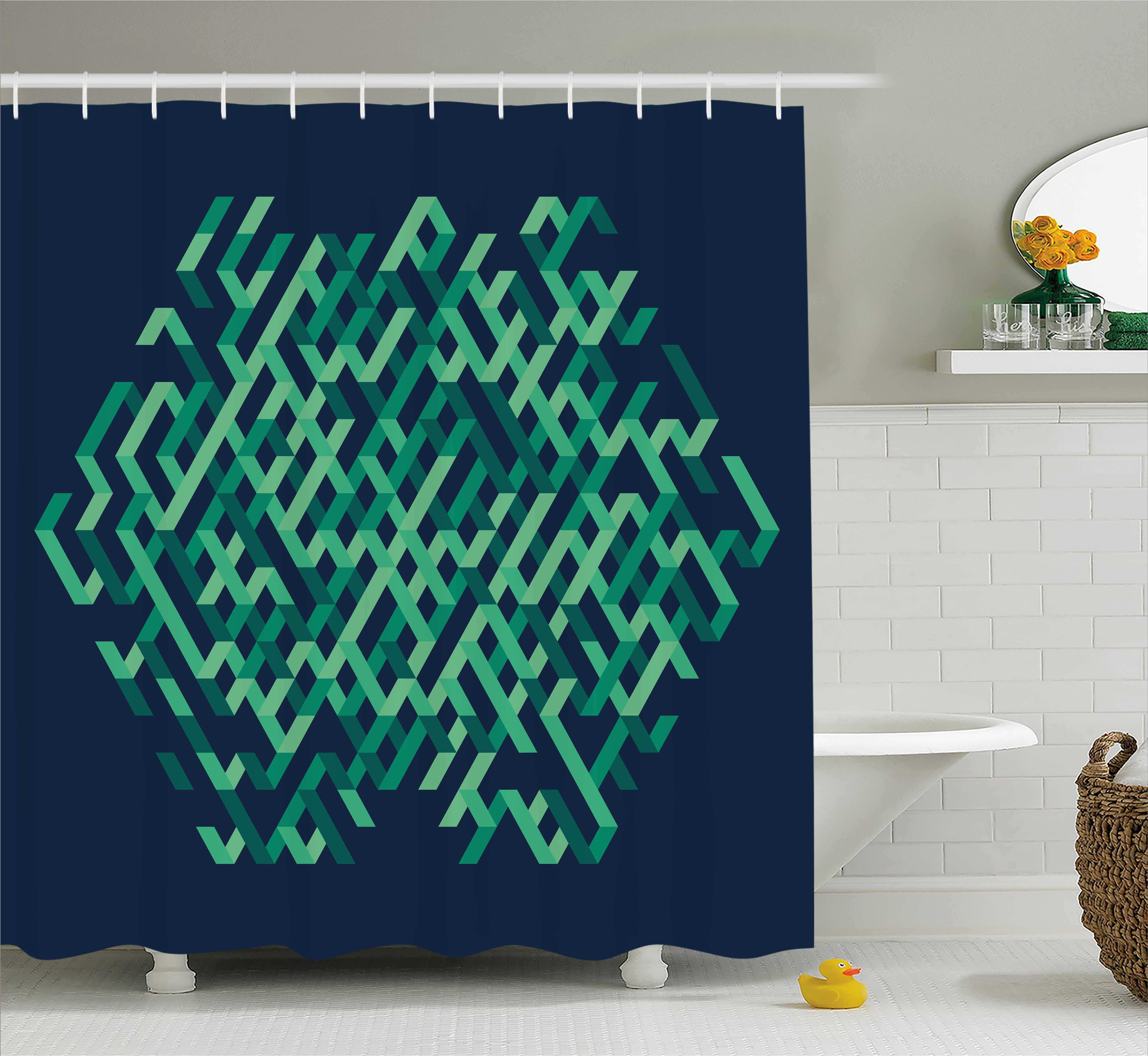 Modern Fabric Shower Curtain Fabric Bathroom Decor Set With