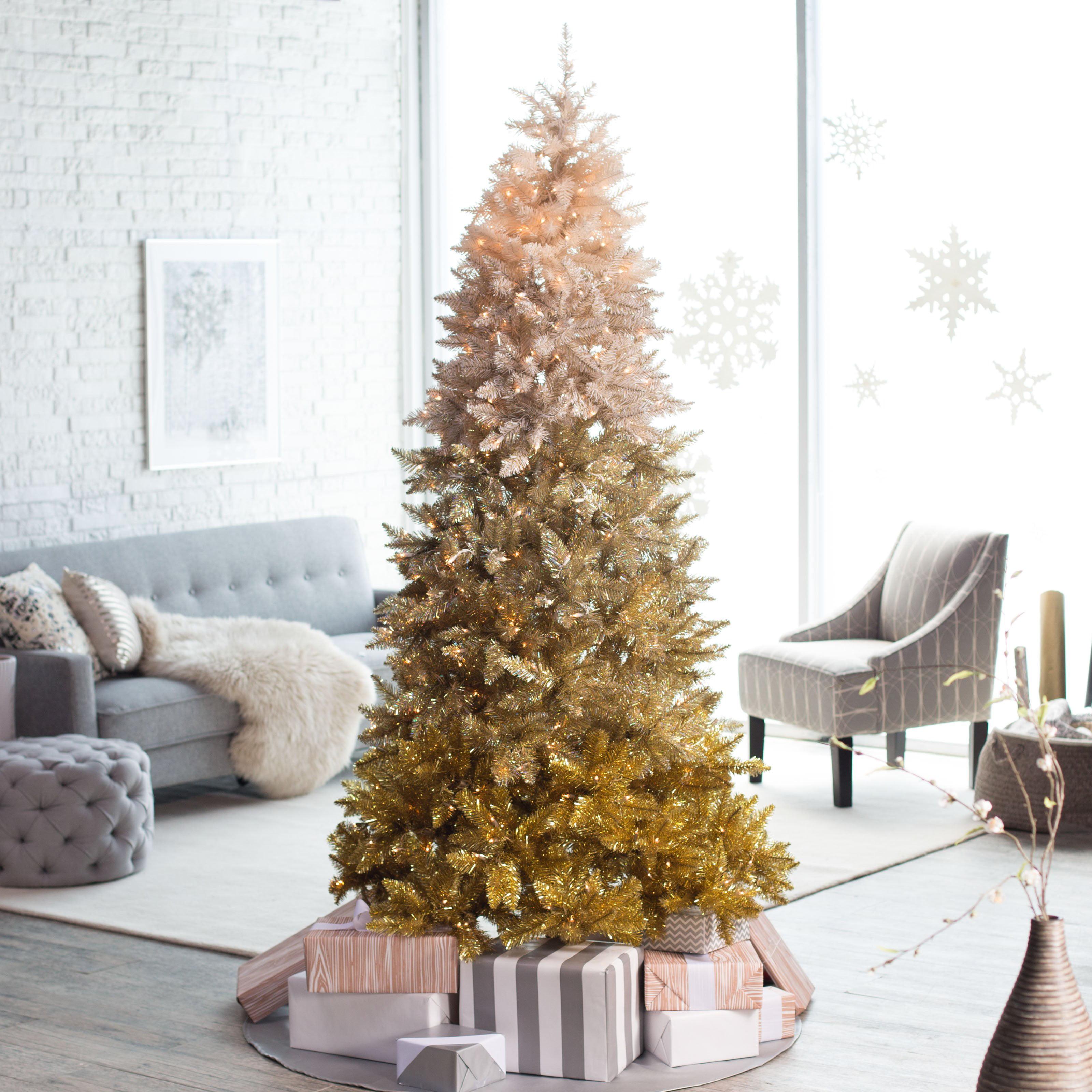 75ft Pre Lit Vintage Gold Ombre Spruce