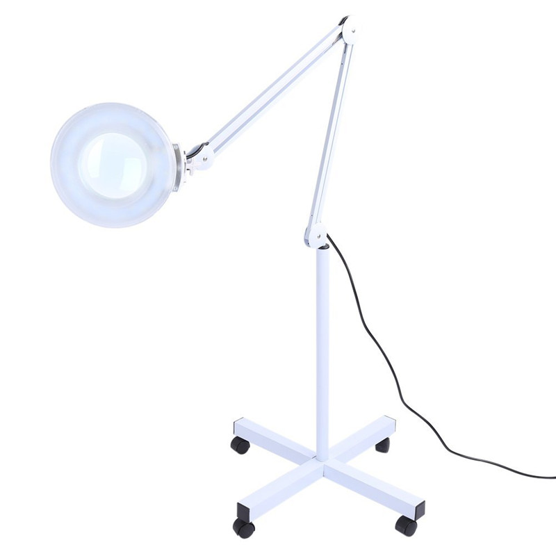 Facial LED Magnifying Lamp 5 Diopter with Rolling Floor Stand for Facial Beauty and Desk Craft by