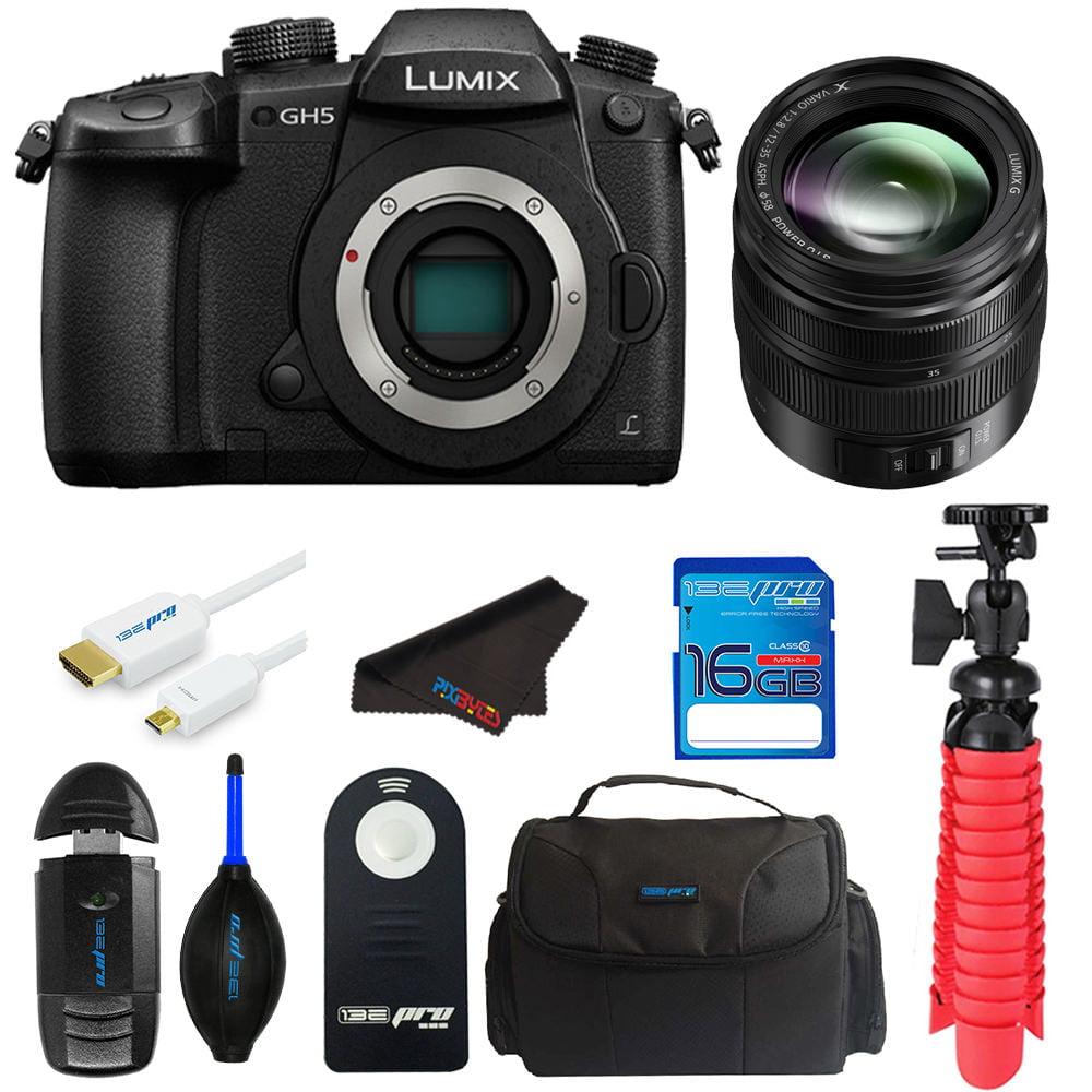 Panasonic Lumix DC-GH5 Mirrorless Micro Four Thirds Digital Camera with Panasonic 12-35mm Lens + SD Card + Pixi Elements Bundle Kit