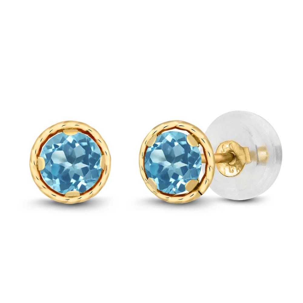 0.66 Ct Round 4mm Swiss Blue Topaz 14K Yellow Gold Stud Earrings