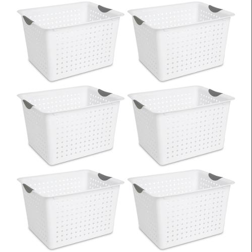 6) Sterilite 16288006 Deep Ultra Plastic Storage Bin Organizer Baskets - White