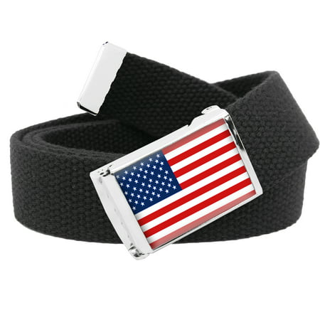 American Flag Flip Top Men's Belt Buckle with Canvas Web Belt Small Black