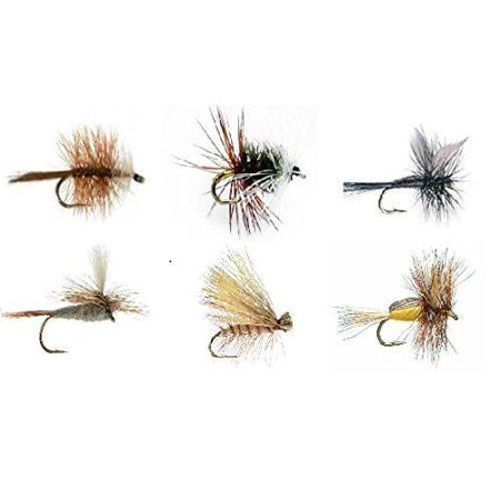 Fly Fishing Assortment - 18 Flies in 6 TROUT CRUSHING PATTERNS of Dry Flies Sizes 12-14  Bivisible Brown, Adams Parachute, Renegade, Black Gnat, Elk Hair Caddis Tan, Yellow Humpy