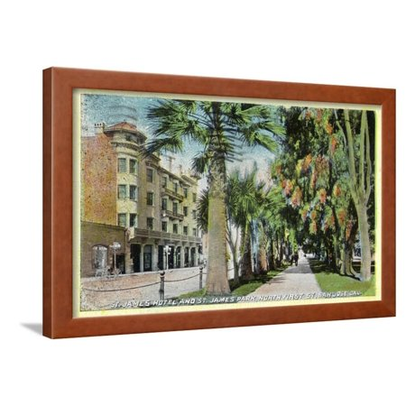 San Jose, California - North 1st Street View of St. James Hotel and Park Framed Print Wall Art By Lantern (2211 North First Street San Jose California 95131)