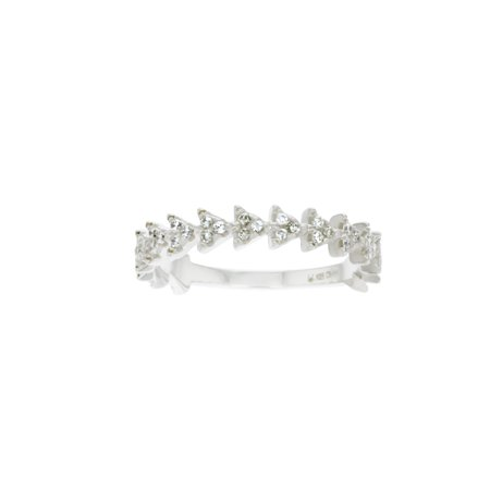 ZilverZoom Sterlinh Silver Stackable Arrow Band Ring with CZ
