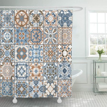SUTTOM Collection of Ceramic Tiles in Blue and Brown Colors Shower Curtain 66x72 inch - image 1 de 1