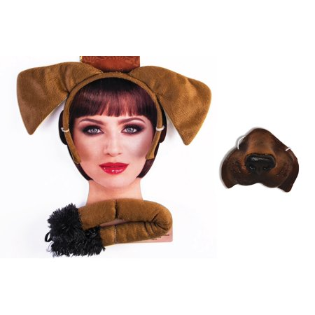 Brown Puppy Dog Kit Mini Nose Mask Ears Tail Pet Animal Costume Accessory Set (Catwoman Mask And Ears Costume)