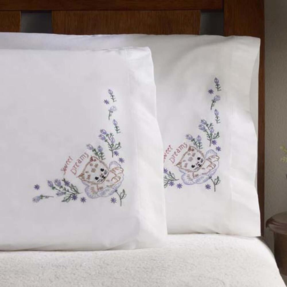 Bucilla Sweet Dreams Pillowcase Pair Stamped Embroidery
