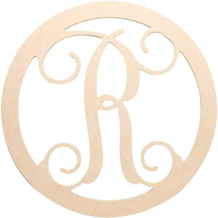 "Plaid 18.5"" Circle Vine Monogram Wood Letter - R"