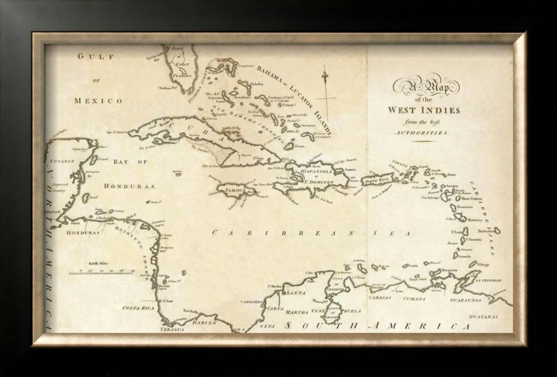 Mexico Map 1794.Map Of The West Indies C 1794 Framed Giclee Print Wall Art By
