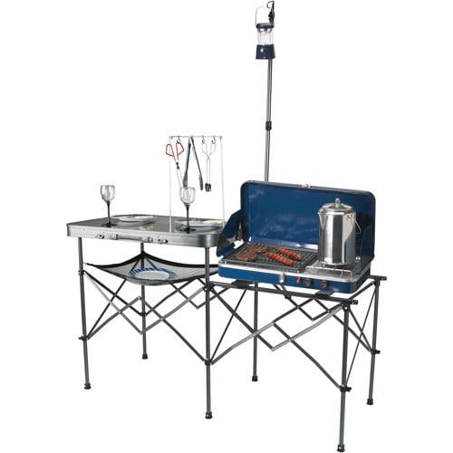ozark trail deluxe portable camp kitchen table - walmart