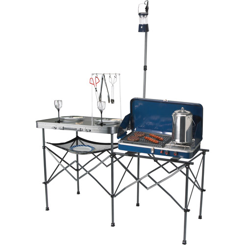 Ozark Trail Deluxe Portable Camp Kitchen Table and Grill Stand