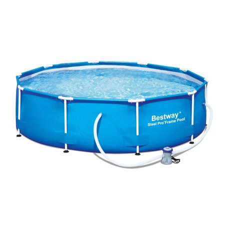 Bestway 10 39 x 30 steel pro frame above ground family swimming pool set 56407e for Swimming pool supplies walmart