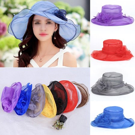 Women Ladies Summer Wide Brim Organza Hat Floppy Derby Beach Sun Foldable - Yellow Derby Hat