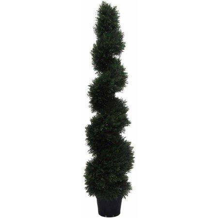 Vickerman 5' Artificial Potted Green Cedar Spiral Tree, UV-Resistant Green Spiral Thistle