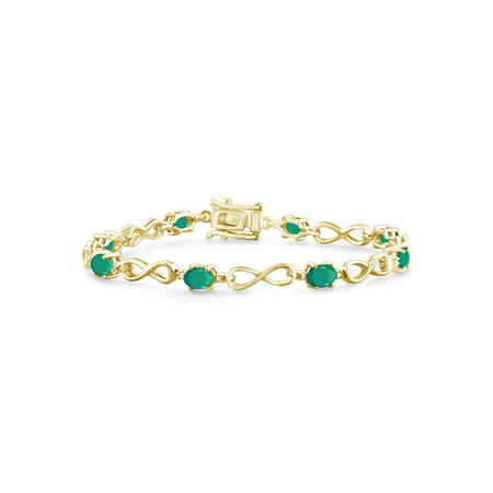 3.00 Carat T.G.W. Emerald And White Diamond Accent 14k Gold Over Silver Bracelet