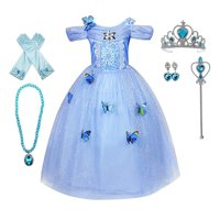Girls Princess Cinderella Belle Aurora Jasmine Dress Up Costume Halloween Fancy Dress with Accessories