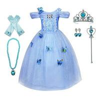 Girls Princess Cinderella Belle Aurora Jasmine Dress Up Costume Halloween Fancy Dress with Accessories