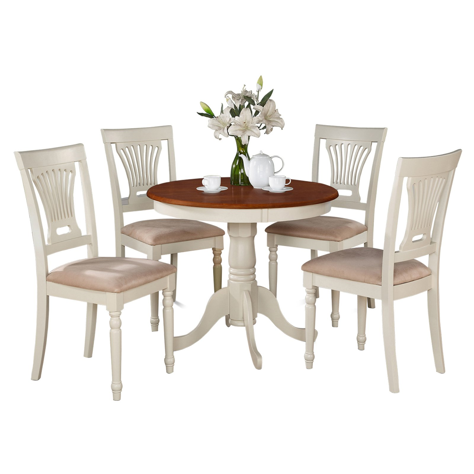 East West Furniture Antique 5 Piece Pedestal Round Dining Table Set with Plainville Microfiber Seat Chairs