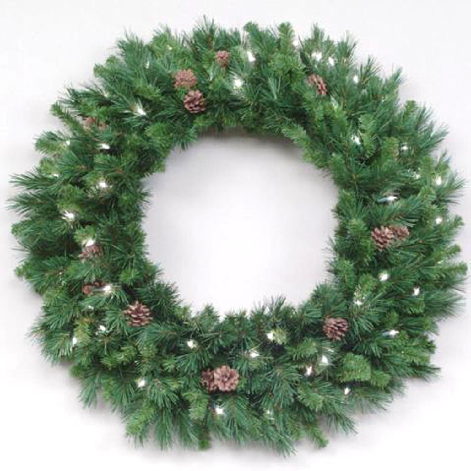 "30"" Pre-Lit Cheyenne Pine Artificial Christmas Wreath - Clear Lights"
