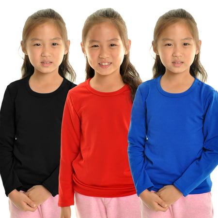 Extreme Fleece Long Sleeve - Angelina Girl's Fleece Lined Crew-Neck Long Sleeves Thermal Top (3-Pack)