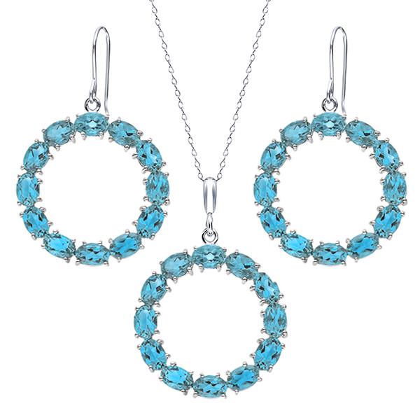 21 Ctw Oval Swiss Blue Topaz Sterling Silver Circle Pendant Earrings Set by