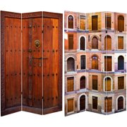 6' Tall Double Sided Doors Canvas Room Divider 3 and 4 Panel
