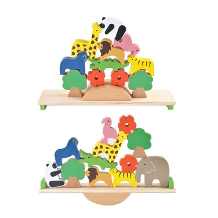 Wooden Animals Stacking Blocks Balancing Games Playset Montessori Toy for - Wooden Animals