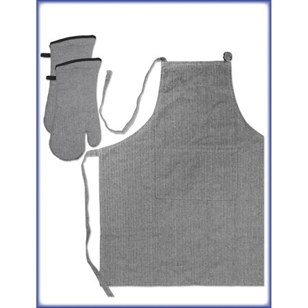 - Discontinued - Last Chance Clearance! Gourmet Pro 3 Piece Oven Mitt and Apron Set, Multiple Colors Available