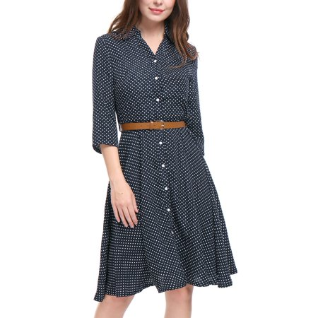Unique Bargains Women's Polka Dots 3/4 Sleeves A Line Belted Midi Shirt Dress