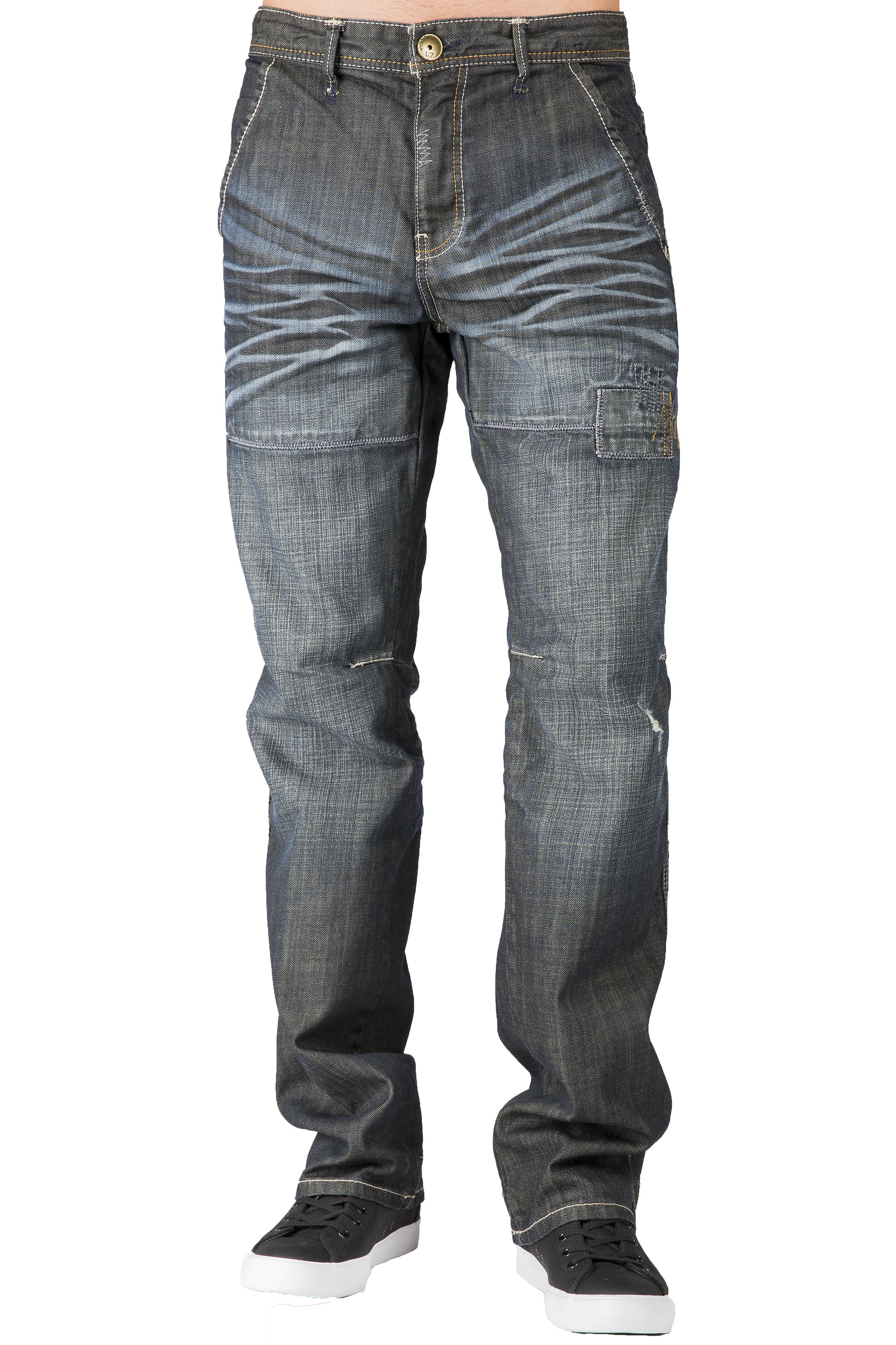15b613c7 mens relaxed dark stoned wash midrise relaxed fit straight leg jeans