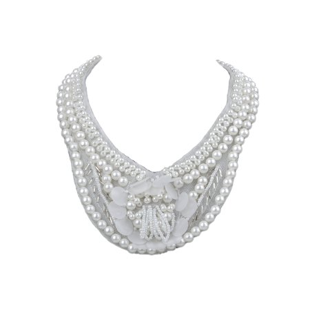 Bridal Collection White Faux Pearl Fashion Bib Necklace w Mini Flower Accents](Bridal Pearl Necklace)