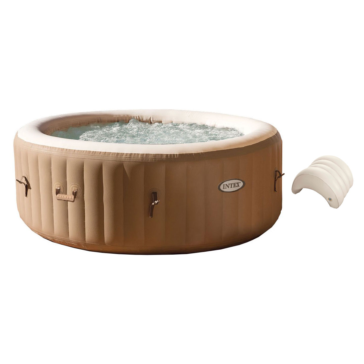 Intex PureSpa 4-Person Inflatable Jet Spa Hot Tub w  Inflatable Headrest Pillow by Intex