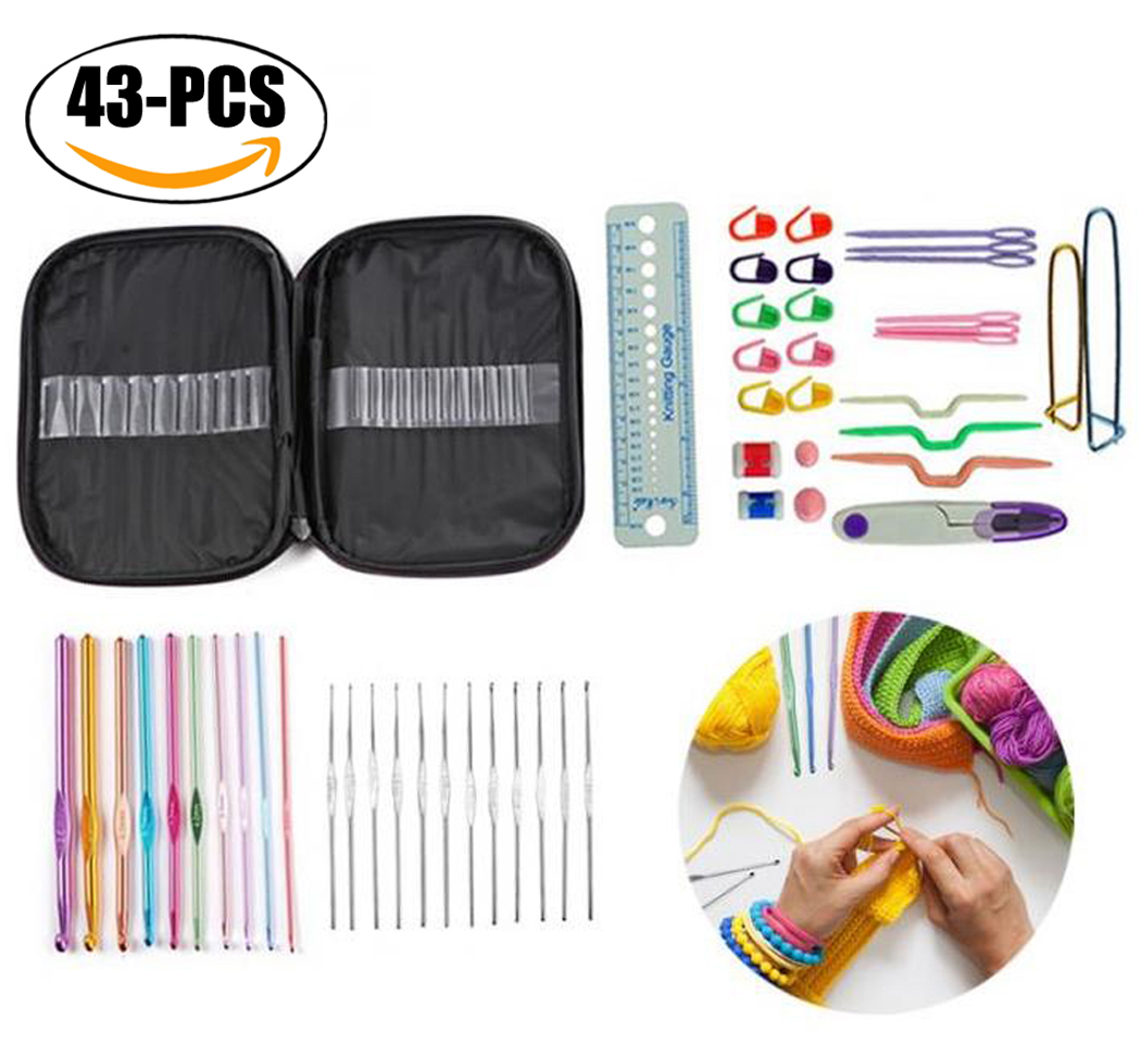 Outgeek 43Pcs Crochet Set Ergonomic Multicolor Metal Crochet Hooks Needle Yarn Tools Knitting Needle Set