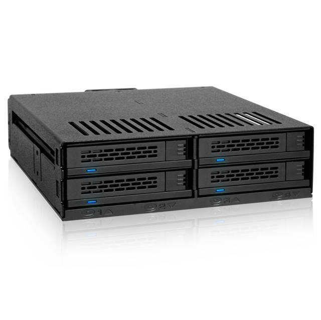 """ICY DOCK ExpressCage MB324SP-B 4 Bay 2.5 inch SAS/SATA HDD/SSD Hot Swap Mobile Rack for Single 5.25"""" Bay (Black)"""