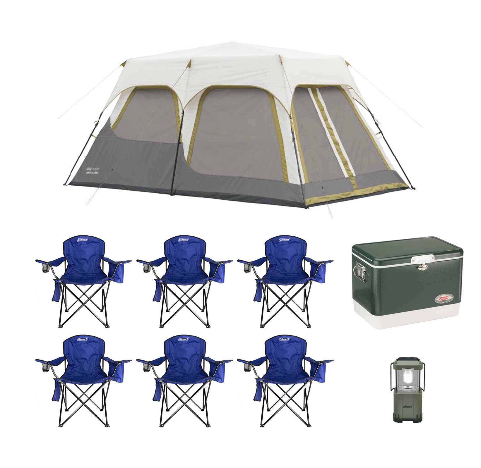 Coleman 8 Person C&ing Instant Tent Bundle w/ 6 Chairs + Lantern + 54qt Cooler  sc 1 st  Walmart & Coleman 8 Person Camping Instant Tent Bundle w/ 6 Chairs + Lantern + ...