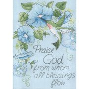 "Dimensions ""Hummingbird and Morning Glories"" Mini Counted Cross Stitch Kit, 5"" x 7"""