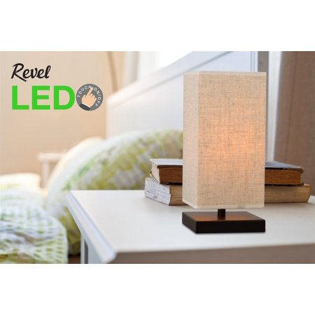 "Revel / Kira Home Lucerna 13"" TOUCH Bedside LED Table Lamp, Energy Efficient, Eco-Friendly, Honey Beige Shade"